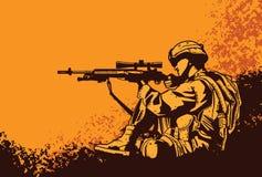 Soldado com um rifle ilustração stock