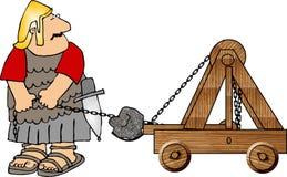 Soldado com uma catapulta ilustração stock