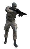 Soldado con la ametralladora Imagenes de archivo