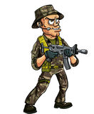 Soldado con la ametralladora sub Imagen de archivo