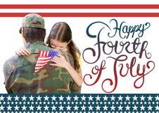 soldado con la hija Cuarto feliz de julio imagen de archivo