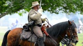 Soldado confederado del caballo almacen de video