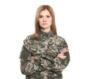 Soldado consideravelmente fêmea fotografia de stock