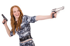 Soldado da jovem mulher com arma Fotografia de Stock