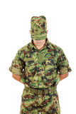Soldado da segurança na polícia militar que está na defesa Fotos de Stock Royalty Free