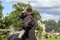 Soldado de cavalaria confederado da guerra civil americana Imagem de Stock