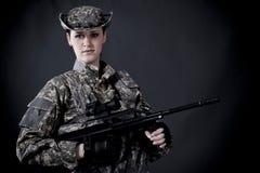 Soldado de la mujer Imagen de archivo