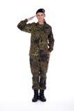 Soldado de la mujer en el saludo Imagen de archivo libre de regalías