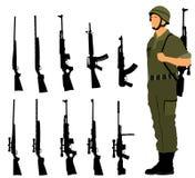 Soldado de saudação do exército com o rifle no dever ilustração do vetor
