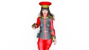 Soldado de sexo femenino que camina ilustración del vector