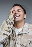 Soldado de sexo masculino Laughing de la minoría Imágenes de archivo libres de regalías