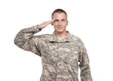 El saludar del soldado Fotografía de archivo