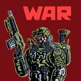 Soldado del Cyborg del futuro stock de ilustración