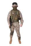 Soldado del EJÉRCITO DE LOS EE. UU. con la carabina m4 Foto de archivo libre de regalías