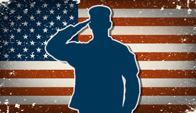 Soldado del Ejército de los EE. UU. en vector del fondo de la bandera americana del grunge Fotografía de archivo libre de regalías