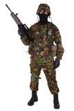 Soldado del ejército británico en uniformes del camuflaje Imágenes de archivo libres de regalías