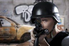 Soldado del golpe violento Foto de archivo libre de regalías