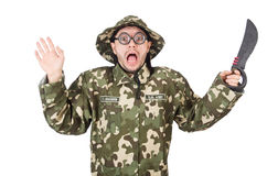 Soldado divertido con el cuchillo Imagenes de archivo