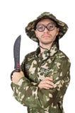 Soldado divertido con el cuchillo Imágenes de archivo libres de regalías