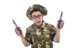 Soldado divertido con el cuchillo Fotografía de archivo
