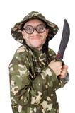 Soldado divertido con el cuchillo Foto de archivo libre de regalías