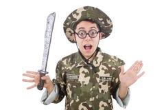 Soldado divertido con el cuchillo Fotos de archivo