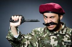 Soldado divertido contra Fotografía de archivo libre de regalías