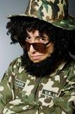 Soldado divertido en militares Fotos de archivo libres de regalías