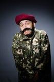 Soldado divertido en militares Fotografía de archivo libre de regalías