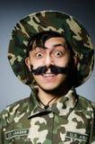 Soldado divertido en militares Imagen de archivo libre de regalías