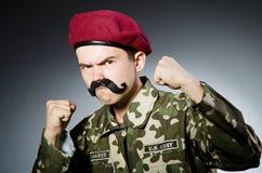 Soldado divertido en militares Imágenes de archivo libres de regalías