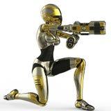 Soldado do bot que aponta uma opinião lateral da arma Fotografia de Stock Royalty Free