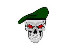 Soldado do crânio com a boina verde ilustração do vetor