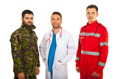 Soldado, doctor y paramédico Imágenes de archivo libres de regalías
