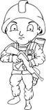 Soldado Doodle, vetor da ilustração Fotos de Stock Royalty Free