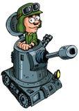 Soldado dos desenhos animados em um tanque pequeno ilustração stock