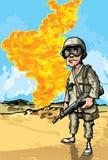 Soldado dos desenhos animados no conflito do deserto ilustração stock