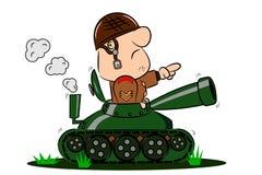 Soldado dos desenhos animados no tanque de exército ilustração stock
