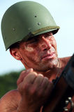 Soldado en casco Imagen de archivo