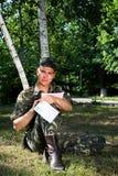 Soldado en el parque Imágenes de archivo libres de regalías