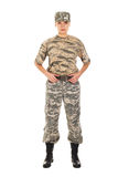 Soldado en el uniforme militar Imágenes de archivo libres de regalías