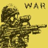 Soldado en la careta antigás que apunta del rifle de asalto Ilustración del vector stock de ilustración