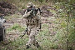 Soldado en patrulla Foto de archivo libre de regalías