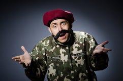 Soldado engraçado nas forças armadas Fotos de Stock Royalty Free