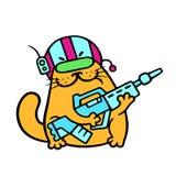 Soldado fantástico del gato divertido con el rifle del impulso Ilustración del vector stock de ilustración