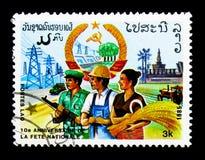 Soldado, fazendeiro, trabalhadores industriais, 10o aniversário do representante Foto de Stock