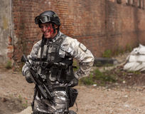 Soldado ferido durante o reenactment histórico Fotografia de Stock