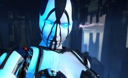 Soldado futurista avanzado del cyborg stock de ilustración