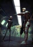 Soldado futurista e droid Fotografia de Stock