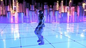 Soldado futurista em um fundo futuro da cidade video estoque